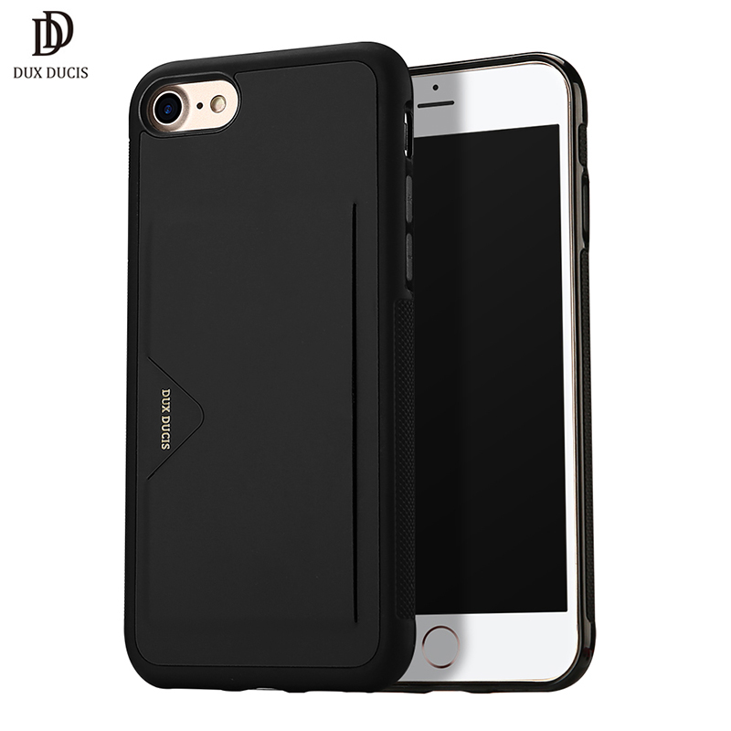 DUX DUCIS Half-wrapped Case for iPhone 7 & Plus 4.7 5.5 PU Leather Soft TPU Bumper Cover Card Slot Holder Wallet Phone Bag