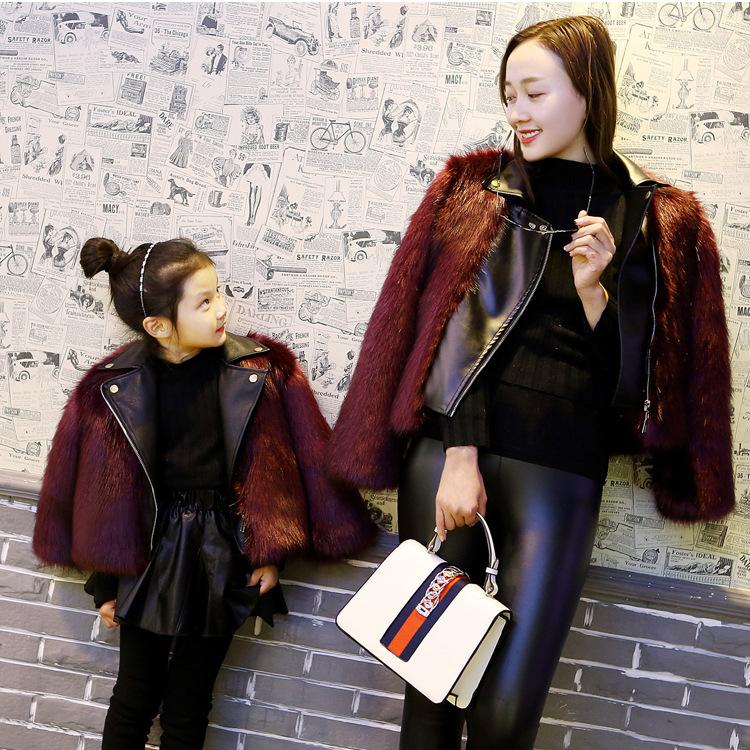 2017 New Fashion Europe and America Family Matching Outfits Women Faux fox fur Coat Boy and Girl Winter Clothes Fur Zipper Coat 2016 new styles of leather and fashion in europe and america
