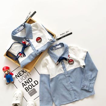 Tonytaobaby  Fashion  Cotton Cartoon  Turn-down Collar  Shirts New Autumn Dress for Boys and Girls Have Bow Tie