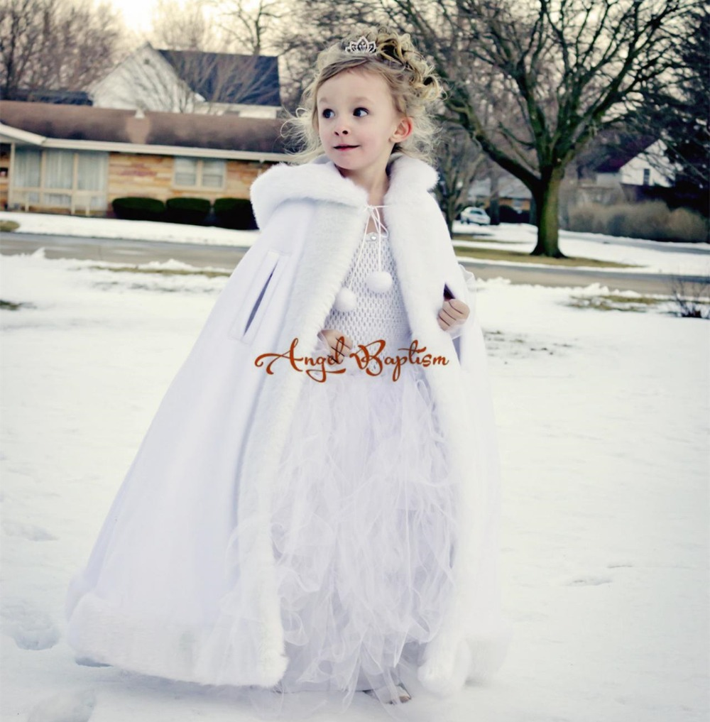 Long Warm White flower girl faux fur cape child kid autumn ice winter jacket hooded wrap bolero wedding coat outwear cloaks hot sale open front geometry pattern batwing winter loose cloak coat poncho cape for women