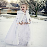 Long Warm White flower girl faux fur cape child kid autumn ice winter jacket hooded wrap bolero wedding coat outwear cloaks
