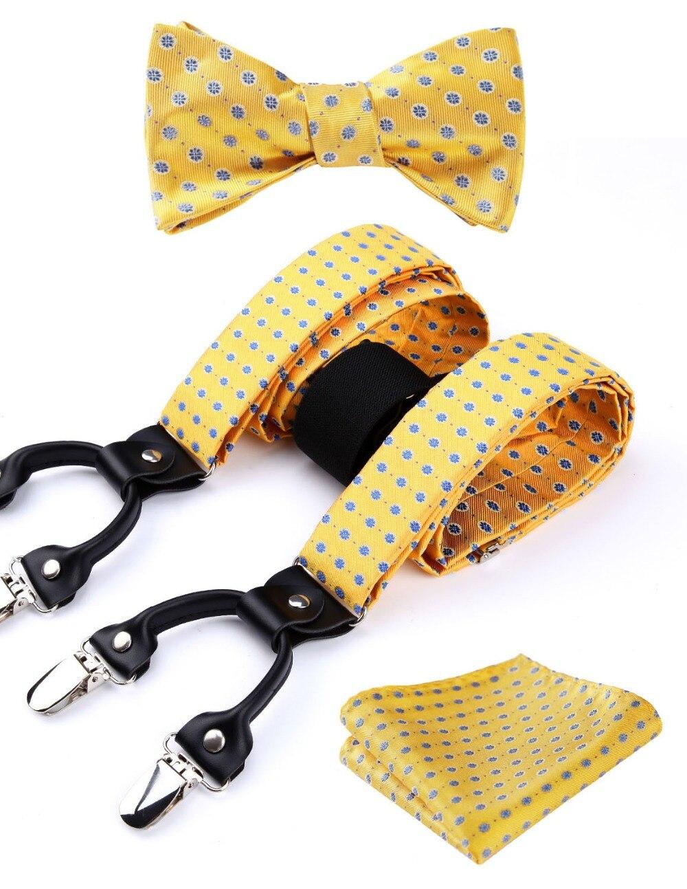 Floral Paisley Various Classic Braces 6 Clips Suspenders Self Bowtie  Pocket Square Set#S3
