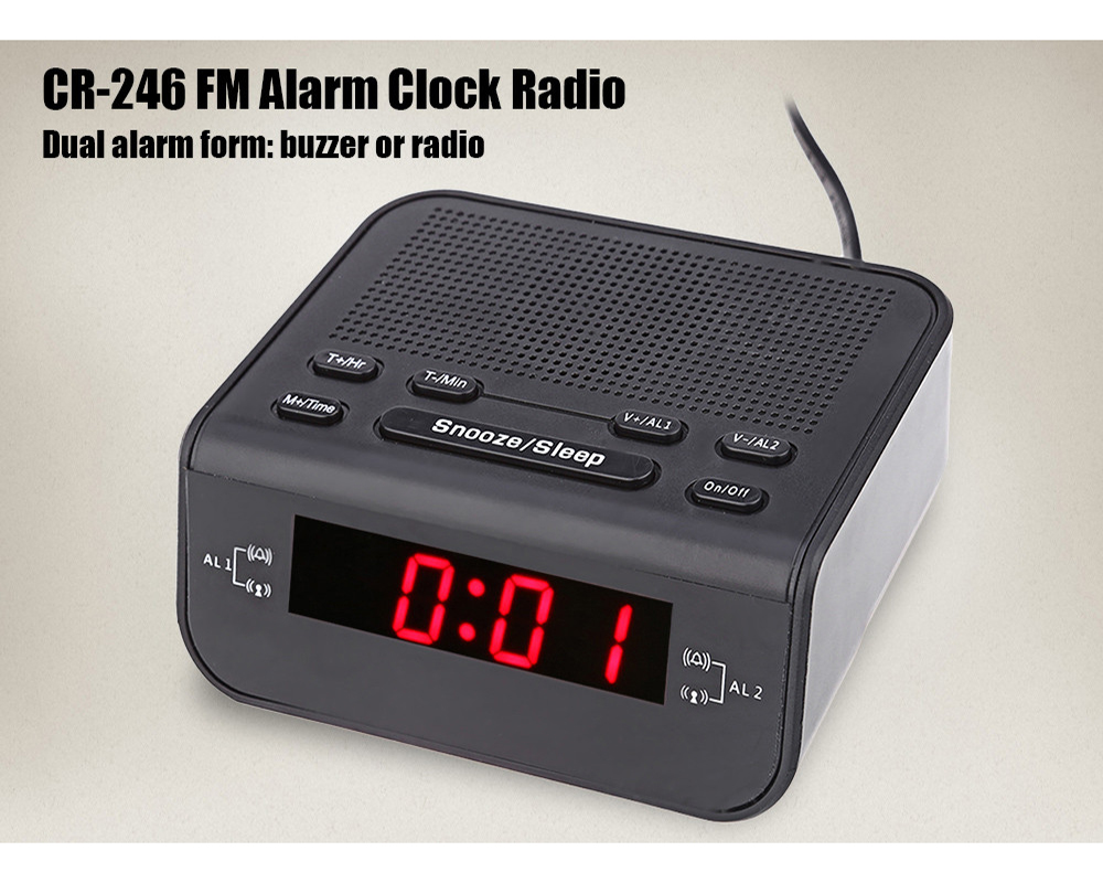 2017 Modern Design Alarm Clock FM Radio With Dual Alarm Buzzer Snooze Sleep  Function Compact Digital Red LED Time Display Clocks In Alarm Clocks From  Home ...