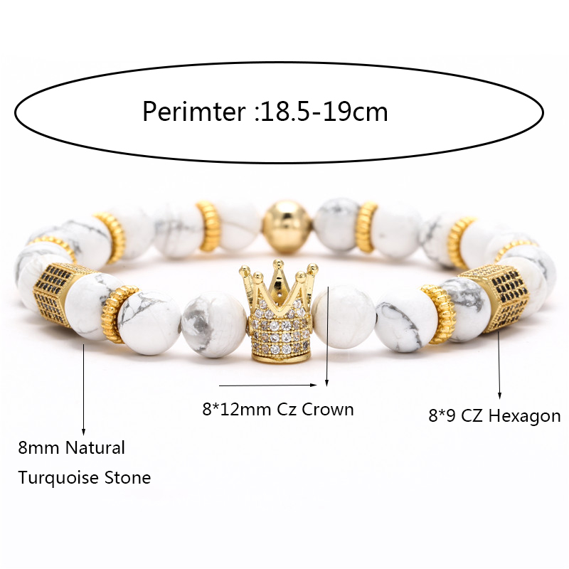Trendy Micro Pave Cubic Zirconia Hecagon Crown Charm Bracelet Women Men Couple Stone Bead Bangles gift fashion Jewelry wholesale
