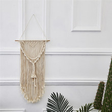 Hand Woven Macrame Wall Art Hanging Tapestry Handmade Cotton Tassels Lace Fabrics Tapestries Indian Bohemian Wedding Decoration cotton fringed handmade woven wall hanging art