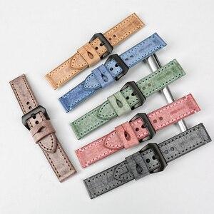 Image 5 - MAIKES di Alta Qualità in Vera Pelle di Vitello di Colore Blu Cinturini Cinturino Orologio 22mm 24mm 6 Colori Handmade Cinturino per Panerai