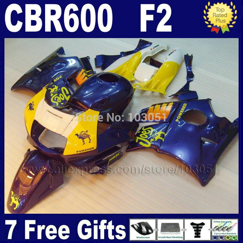 Factory motor fairings kit for Honda blue yellow 1993 1994 CBR 600 F2 1991 1992 CBR600 F 91 92 93 94 CBR600 F2 fairing kits+ tan мото обвесы hjmt 93 94 cbr600 f2 91 94 f2 cbr600 f2