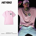 LET THEM HATE! pink youth Punk T-shirt Men HEYBIG version swag Hiphop tee left Chest print Rapper Shirts Chinese Size!