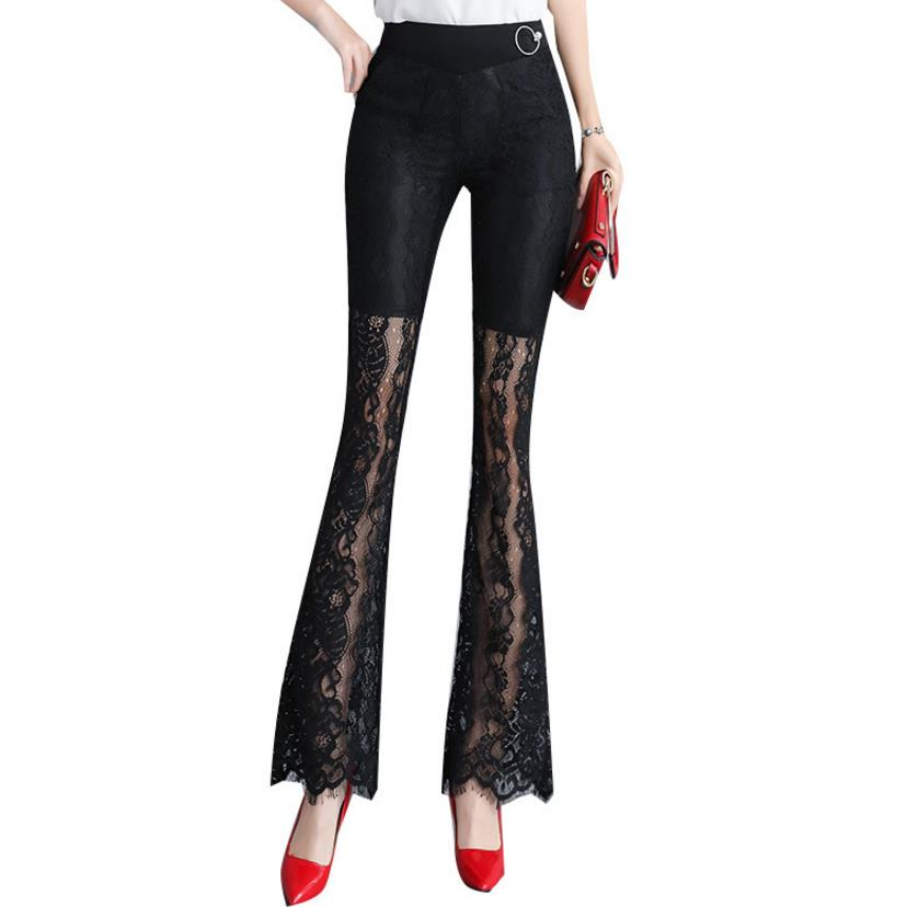 New Lace flared pants female 2018 Fashion Women Plus Size high waist Long Trousers