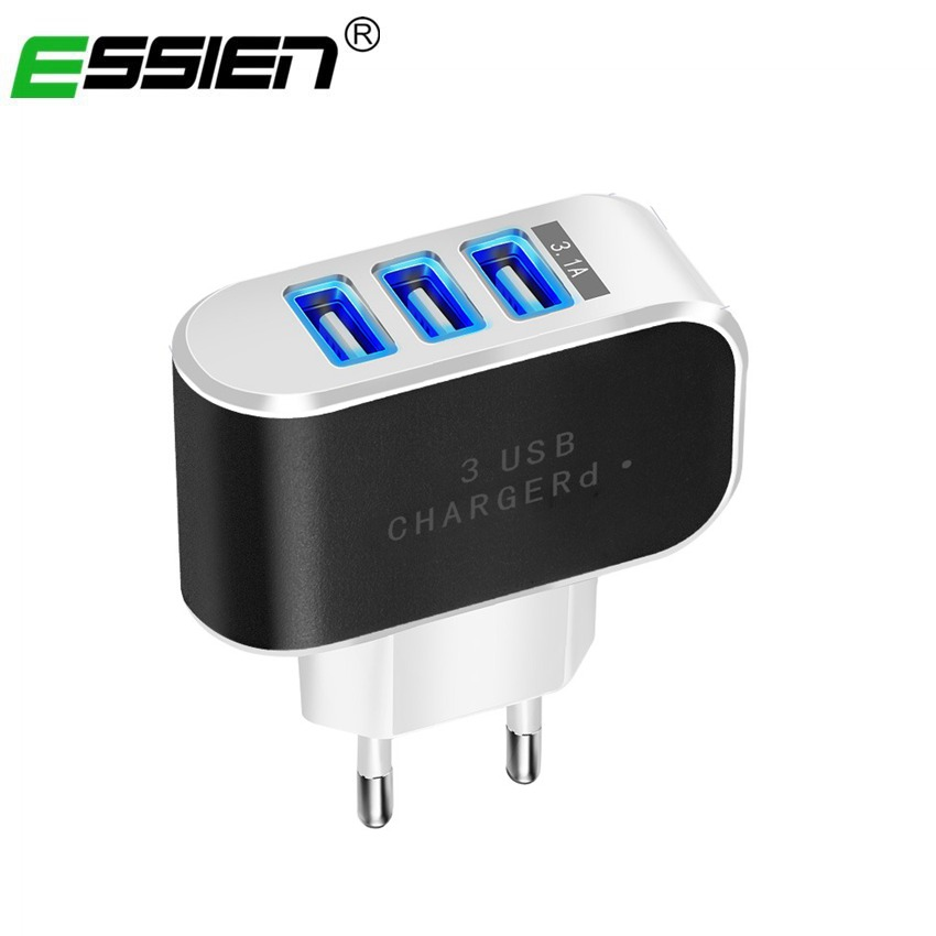 Universal 3 port LED Mobile Phone Charger
