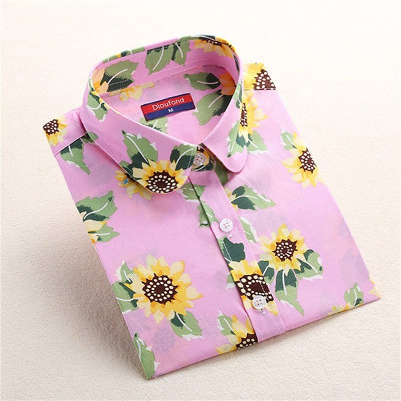 Dioufond Print Shirt Women Lips Casual Blouse Long Sleeve Blouses Floral Shirt Women Turn-down Collar clothes Ladies Tops 2018