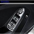 4 unids/lote Real carbon fiber Sline levantador de la ventana del coche decoración de coches decoración de interiores para audi A4 sólo puede caber La Mano Izquierda unidad