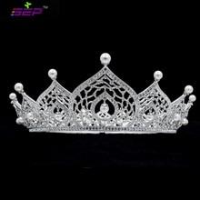 Высокое Качество Австрийских Кристаллов Rhinestone Свадебный Люкс Полный Тиара Корона Волос Ювелирные Аксессуары SHA8744