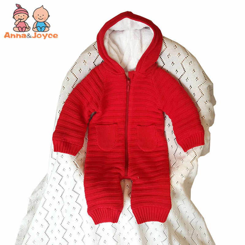 4454fa967a4 Thick Warm Infant Baby Rompers Winter Clothes Newborn Baby Boy Girl Knitted  Sweater Jumpsuit Hooded Kid