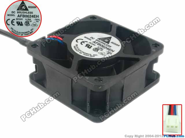 Delta Electronics AFB0624EH T8YL Server Square Fan DC 24V 0.36A 60x60x25mm 3-wire emacro for nonoise a8025h24b server square fan dc 24v 0 095a 80x80x25mm 2 wire