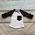 Niñas bebés de algodón casuales flecha raglans algodón niñas boutique raglans rangalns niños de algodón con volantes de la manga
