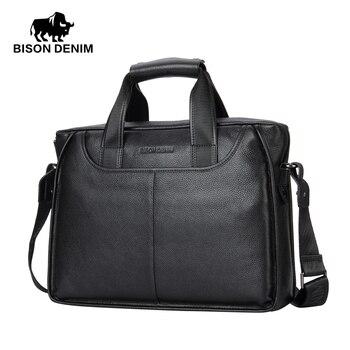 BISON DENIM fashion men bag genuine leather handbag shoulder bags brand business male briefcase laptop bag