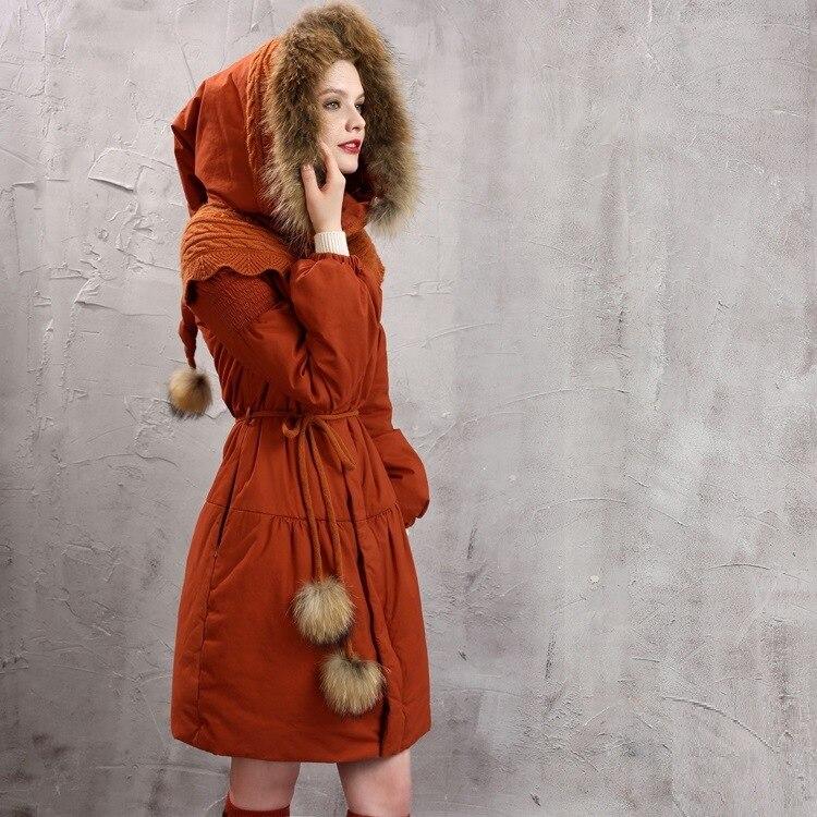 Chaud Parkas Femme Pardessus Raton Hiver De Laveur Femmes Parka Vêtements Capuche Rouge Coton Manteau Manteaux Rétro Long Épaissie À Cheveux xrQBdeWCo