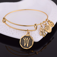 NEW STYLE American Expandable Bracelet Diameter Metallic Ancient Gold A-Z Initial Letter Charm Bracelet Adjustable Wire Bangle