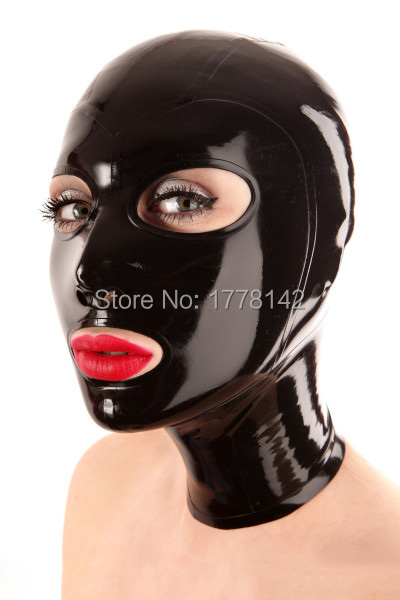 Latex hood black latex masks Open Eyes Mouth Nose