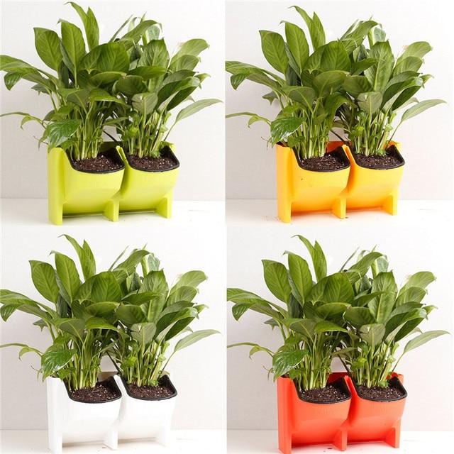 apilable 2 bolsillos vertical pared jardinera auto riego jardn colgante maceta macetero para interiorexterior - Jardineras Exterior