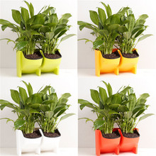 Стекируемые 2-карманы Вертикальной стене кашпо само полива висит сад цветочный горшок кашпо для Indoor/Outdoor