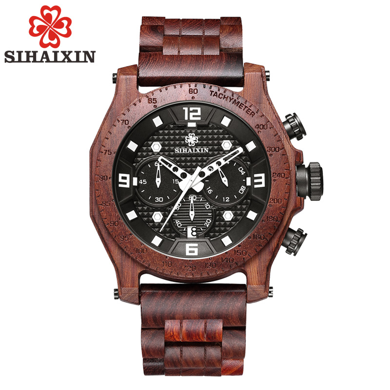 SIHAIXIN Wooden Watch Clock Chronograph Quartz Military Waterproof for Men Date Male