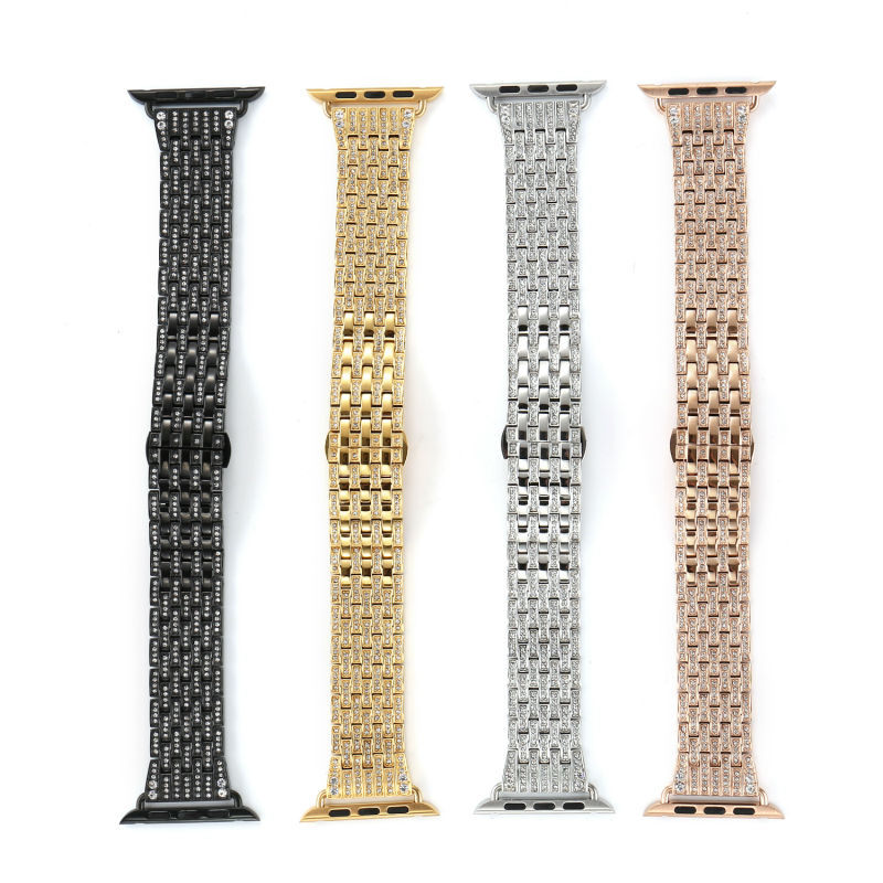 Diamond Stainless Steel Watch Band For Iwatch Apple Watch Band Strap Link Bracelet With Adapter 42MM 38MM Series 3/2/1 new arrival diamond stainless steel band for apple watch band strap link bracelet 38mm 42mm smart watch metal band for iwatch