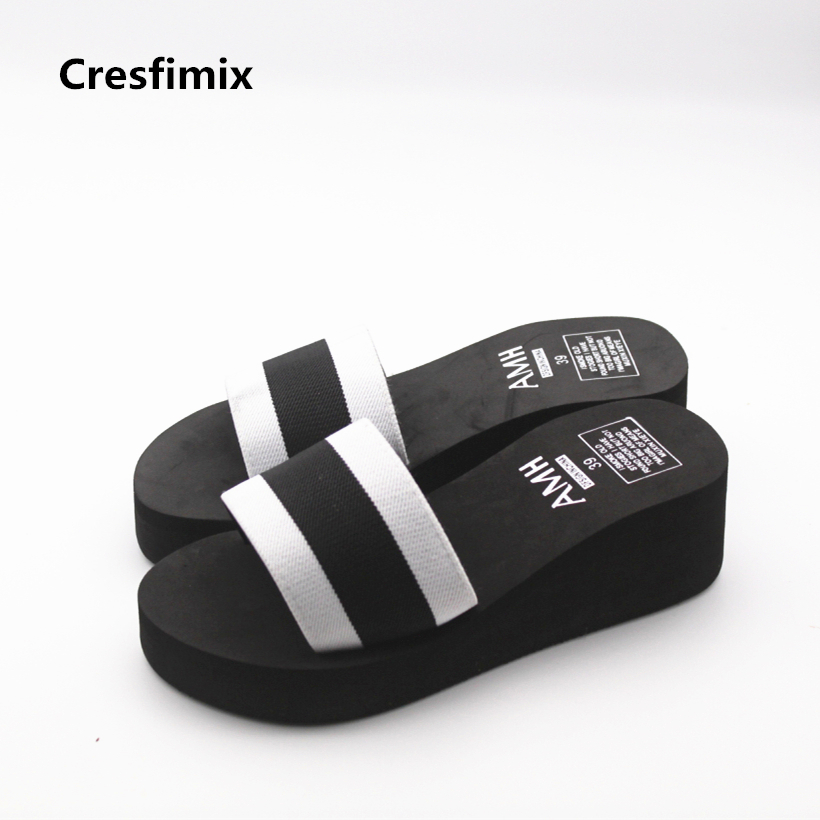Cresfimix women cute 5.5cm high heel slippers lady casual soft & comfortable beach slippers female cool striped eva slippers