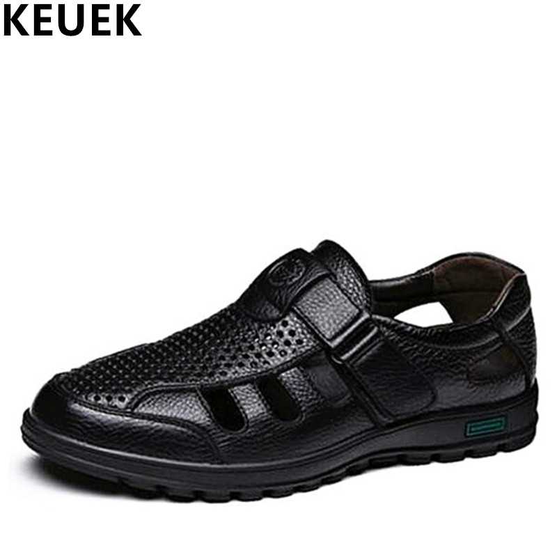 Classics Men Sandals Cow Split leather Cut-Outs Breathable Dress shoes Hook & Loop Summer Flats Male Business Shoes 03