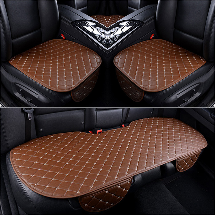 3Black PU Car Interior Accessories Seat Cover Front Rear Seat Cushion Breathable