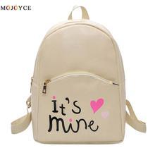 Fashion Women Backpack Female teenage girls school Letters Printed PU Leather Back Pack Travel Rucksack Mochila Feminina
