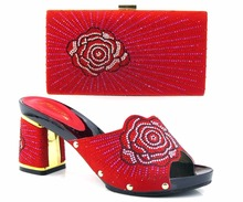 Fashion Sandals Elegant Italian Shoes And Bags To Match With Stone African Shoes With Matching Bag Set For Wedding TH16-31