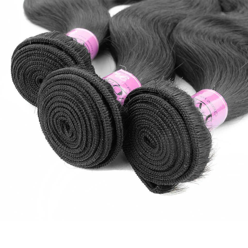 Pelo brasileño de la onda del cuerpo de Yonne 3 Paquetes de pelo humano tejido Color Natural 8-28 pulgadas envío gratis