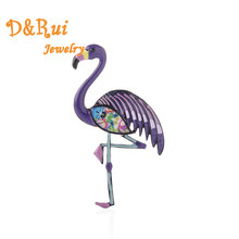 Enamelled Flamingo Brooch Pins For Girls Gifts Purple Animal Bird Brooches Women Wedding Party Jewelry Dress collar decoration недорого