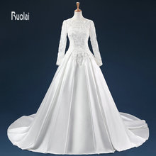 Ruolai Wedding Dress 2018 Long Sleeve Train Gowns Dresses
