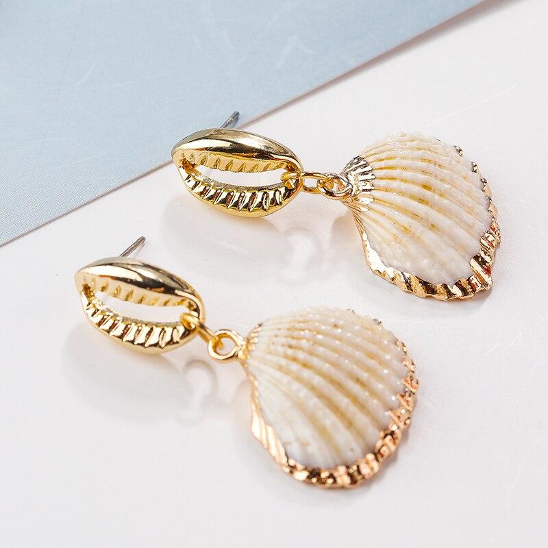 AENSOA Neue Mode Unregelmäßige Natürliche Shell Conch Tropfen Ohrringe Für Frauen Erklärung Metall Maxi Geometrische Strand Party Schmuck