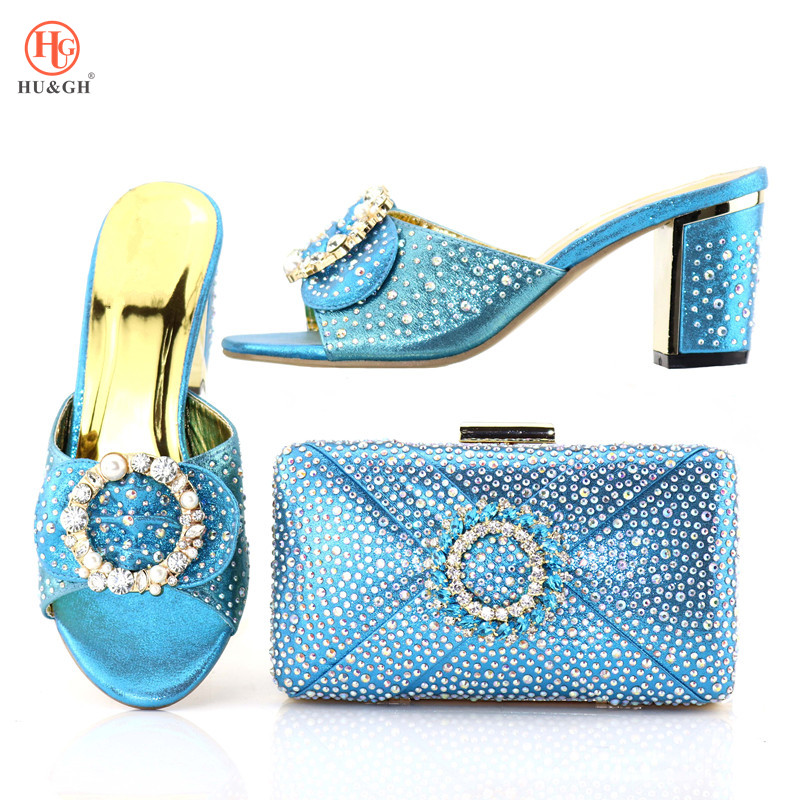 Latest Ladies Italian Shoes and Bag Set Decorated with Rhinestone African Women Italian Shoes and Bag Set Nigerian Sky Blue shoe doershow african women italian shoes and bag set decorated with rhinestone italy shoe and bag set italian shoe with bag dk1 6