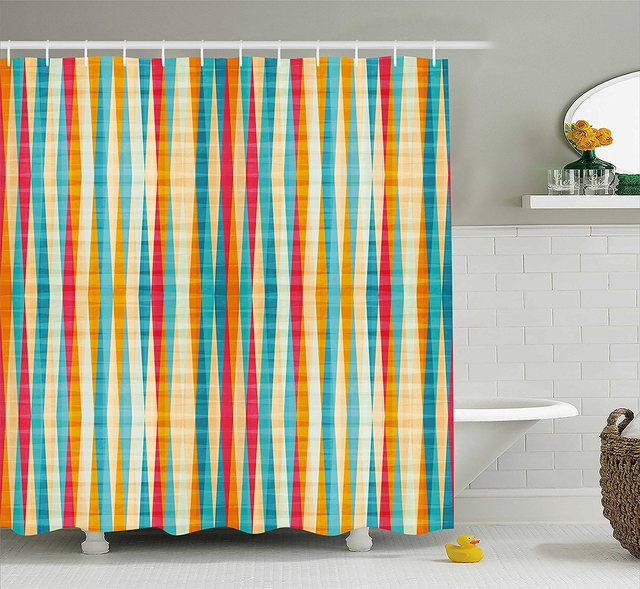 Memory Home Abstract Shower Curtain Colorful Formless Vertical Bands Contrast Tones Spectrum Artsy Design Fabric Bathroom