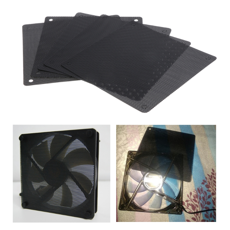 5Pcs/set 120mm Cuttable Black PVC PC Fan Dust Filter Computer Case Cooler Dustproof Mesh Cover PC Cooling Accessories C26