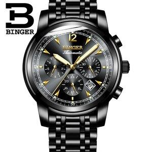 Image 3 - Binger reloj mecánico automático suizo para hombre, de marca de lujo, de zafiro, resistente al agua, masculino, B1178 17