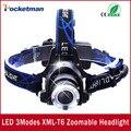США ЕС Горячие HP79 СИД Головного света фара Cree XM-L T6 светодиодный 3000LM аккумуляторная Фар Фары лампы фары