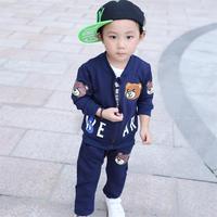 2017 New Korean Boy Three Piece Suit Leisure Bear Kids Children Jacket Kids 3 Pieces Set Boys Clothing Set