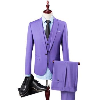 Men's suit three-piece suit (coat + pants + vest) wedding dinner dress solid color European and American style men's suit