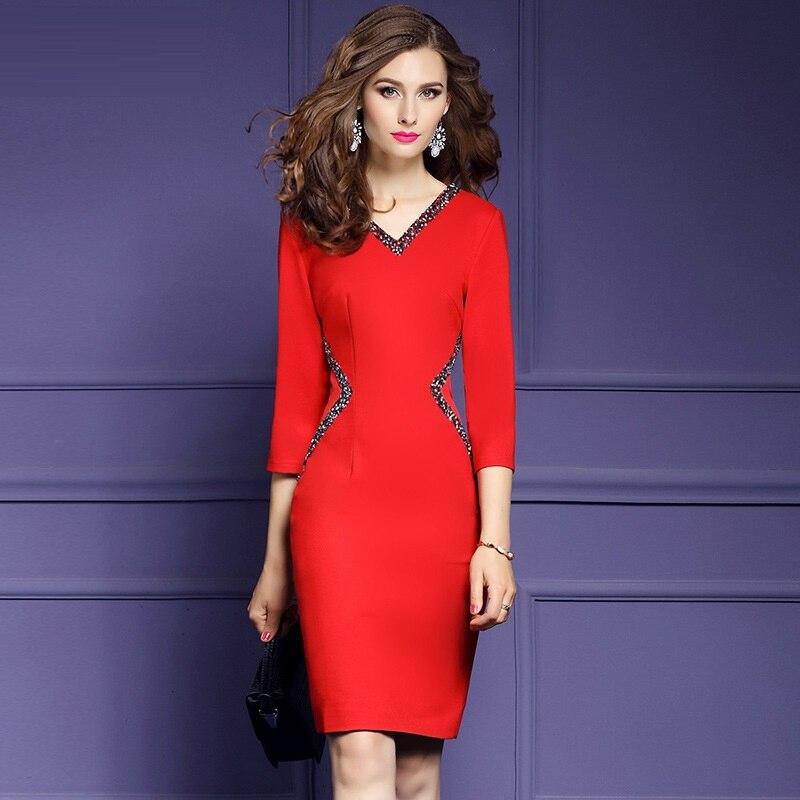 2019 NEW luxury Spring V Neck sexy dress Women Clothing Slim Beading Party Dress XXXL Elegant