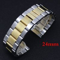 24mm Watchband Luxury Silver & Golden High Quality Solid Stainless Steel Watch Band Strap Bracelet for Men Women + Spring Bars