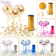 FENGRISE Gold Confetti Balloon Wedding Birthday Balloons Party Decoration Ballons 100 yards Satin Ribbon Curling Ribbon Roll