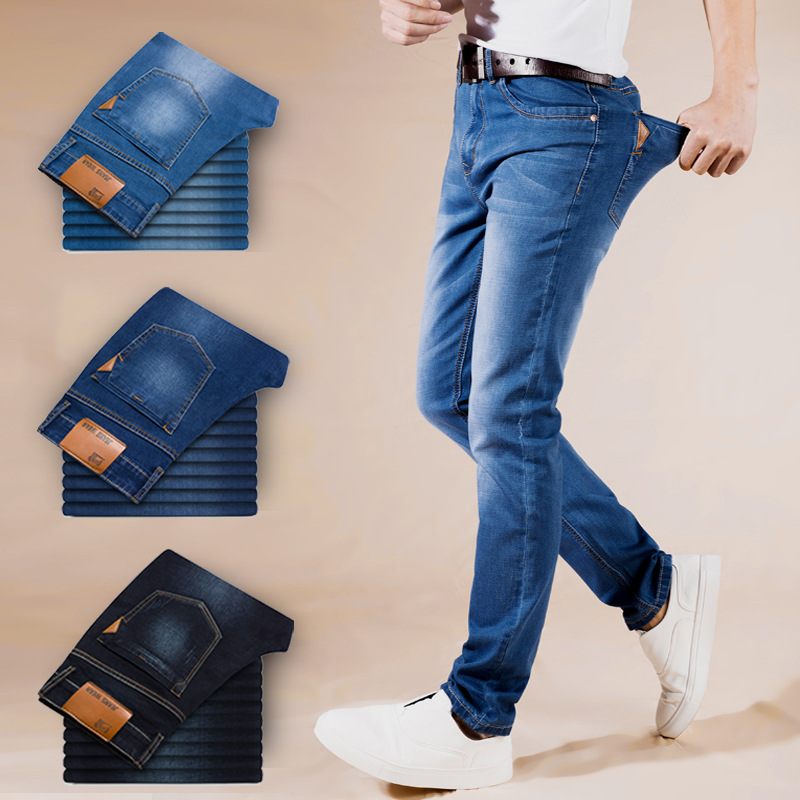 2018 Summer Jeans Men New Stretch Cotton Breathable And Comfortable Jeans Fashion Casual Mens Lightweight Slim Denim Trousers ...