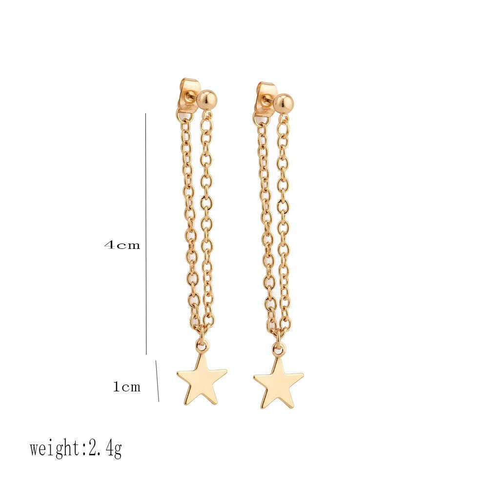 Oorbellen Fringed Gold ออกแบบดาวยาวต่างหูต่างหูจี้ต่างหูเครื่องประดับต่างหู