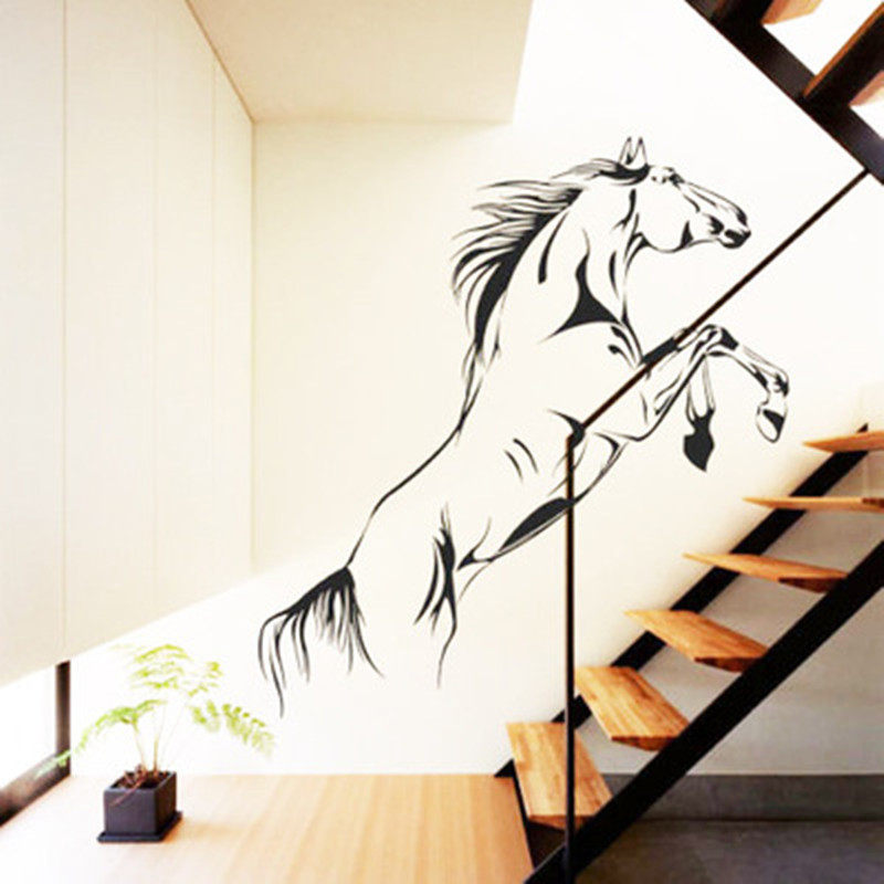 Home Decor Supplies Unique Horse Removable Wall Stickers For Sitting Room Bar Decorative Diy House Decals